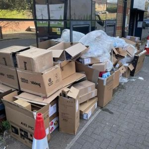 office rubbish boxes before clearance
